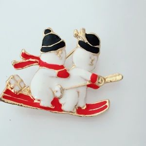 Snowman Christmas Holiday Brooch Vintage